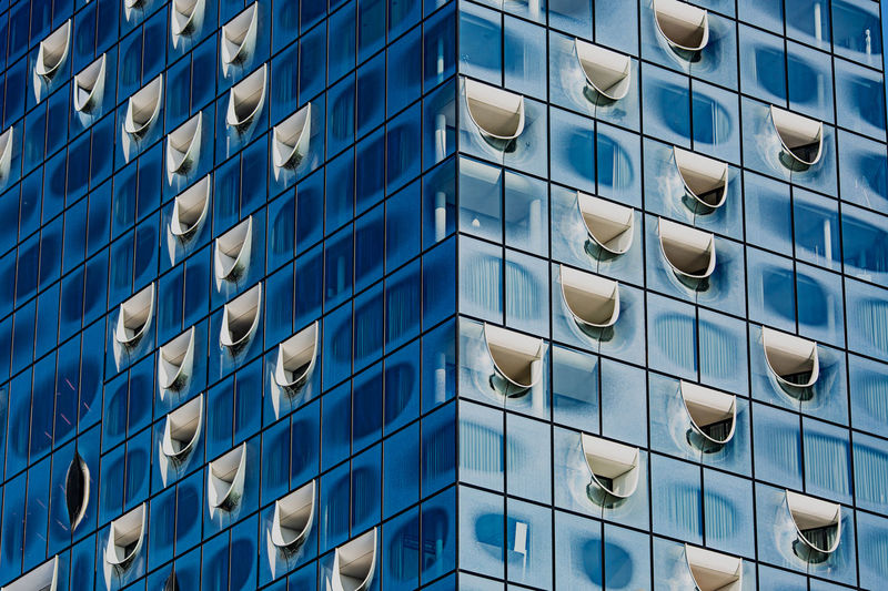 Building Exterior Architecture Built Structure Full Frame Building Glass - Material No People Window City Blue Day Modern Reflection Apartment Skyscraper Hamburg, Germany Hamburg Elbphilharmonie Hamburg Elbphilharmonie Tourist Attraction