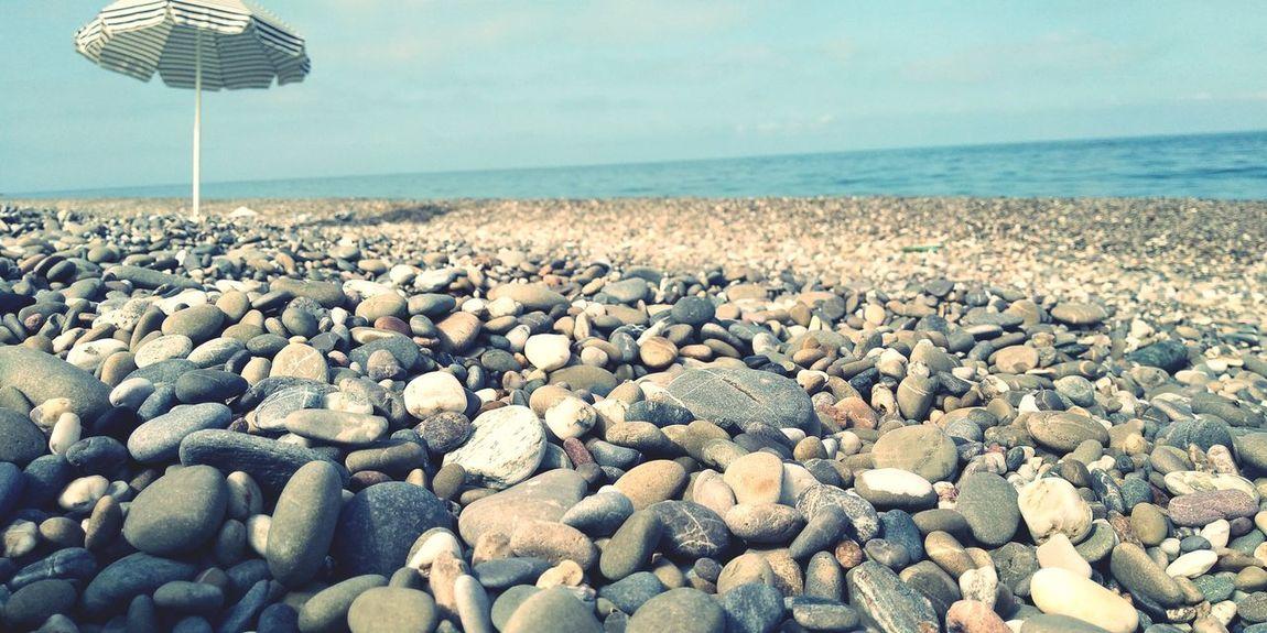 Pebble Beach Water Sea Beach Sand Pebble Summer Blue Sky Horizon Over Water