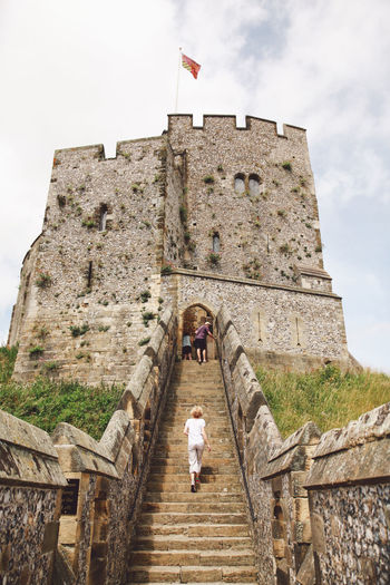People walking up stairs at arundel castle