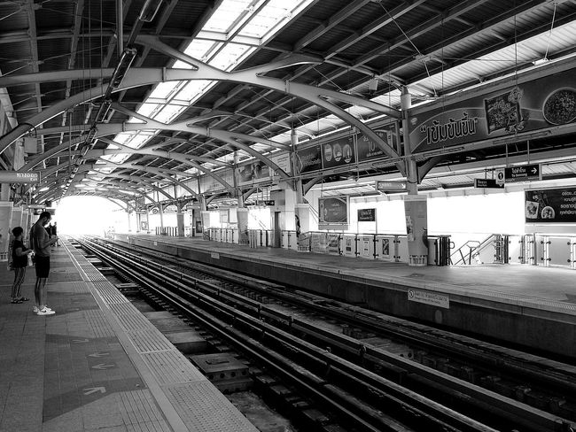 Sky train Bangkok Black & White Railroad Track Rail Transportation Transportation Public Transportation Indoors  Train - Vehicle No People Railroad Station Platform Day