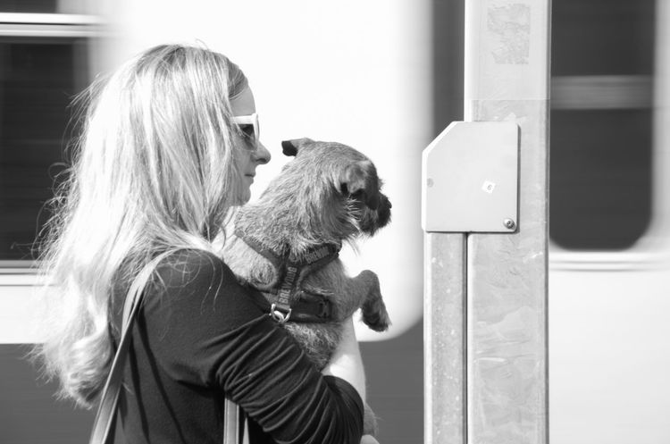 Black And White Blonde Candid City City Life Day Dog Glasgow  Mammal Monochrome Motion Blur People Pet Portrait Portrait Of A Woman Scotland Street Train Train Station Woman