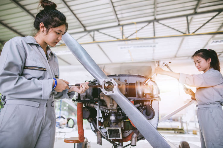 Female engineers working in industry