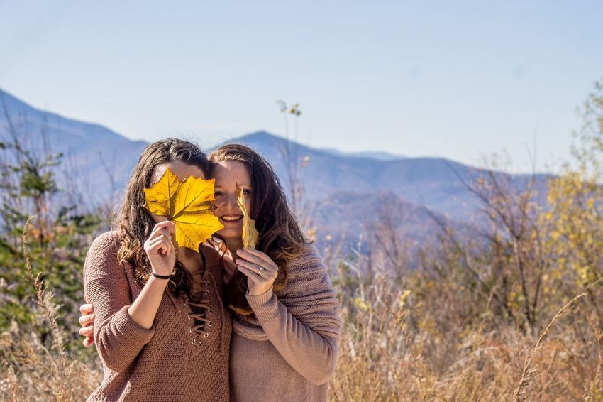EyeEm Selects Togetherness Heterosexual Couple Two People Couple - Relationship Love Standing Nature Bonding Happiness Adventure Women Leisure Activity Outdoors Casual Clothing Carefree Adult Young Women Mountain Mother & Daughter Fall Autumn
