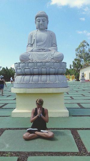 Religion Spirituality Full Length Cross-legged Zen-like Front View Statue