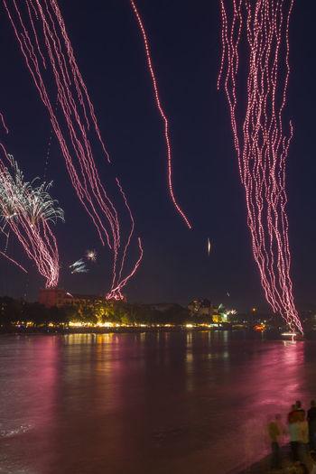 Basel Fireworks, Switzerland Basel Bridge Celebration Dreiländerbrücke Dreiländereck Exploding Fireworks Mittlere Brücke Night Panorama Rhine River Sky Switzerland