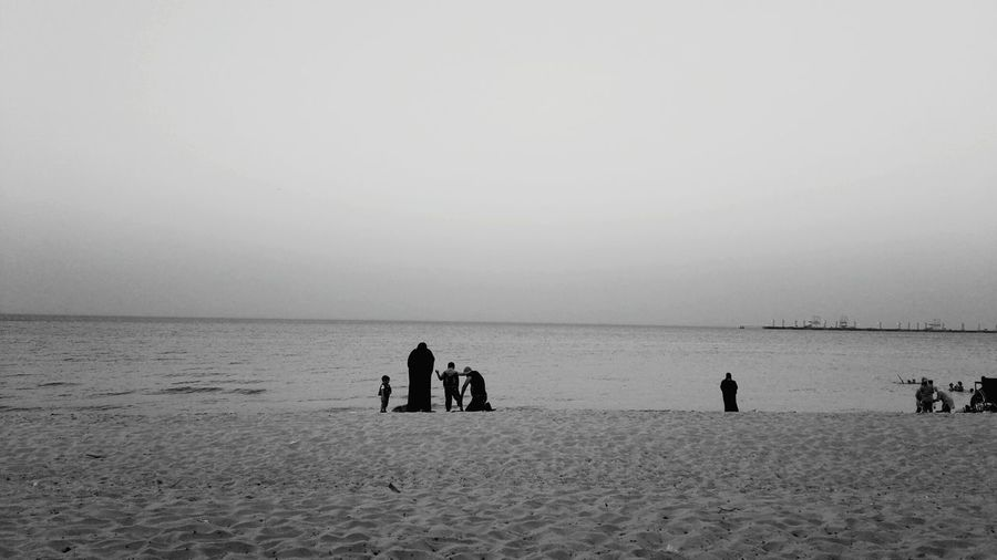 Family Beachphotography Kuwait ♥ Blackandwhite Peopletogether EyeEm Best Shots - Black + White Eyeemphotography Outdoors