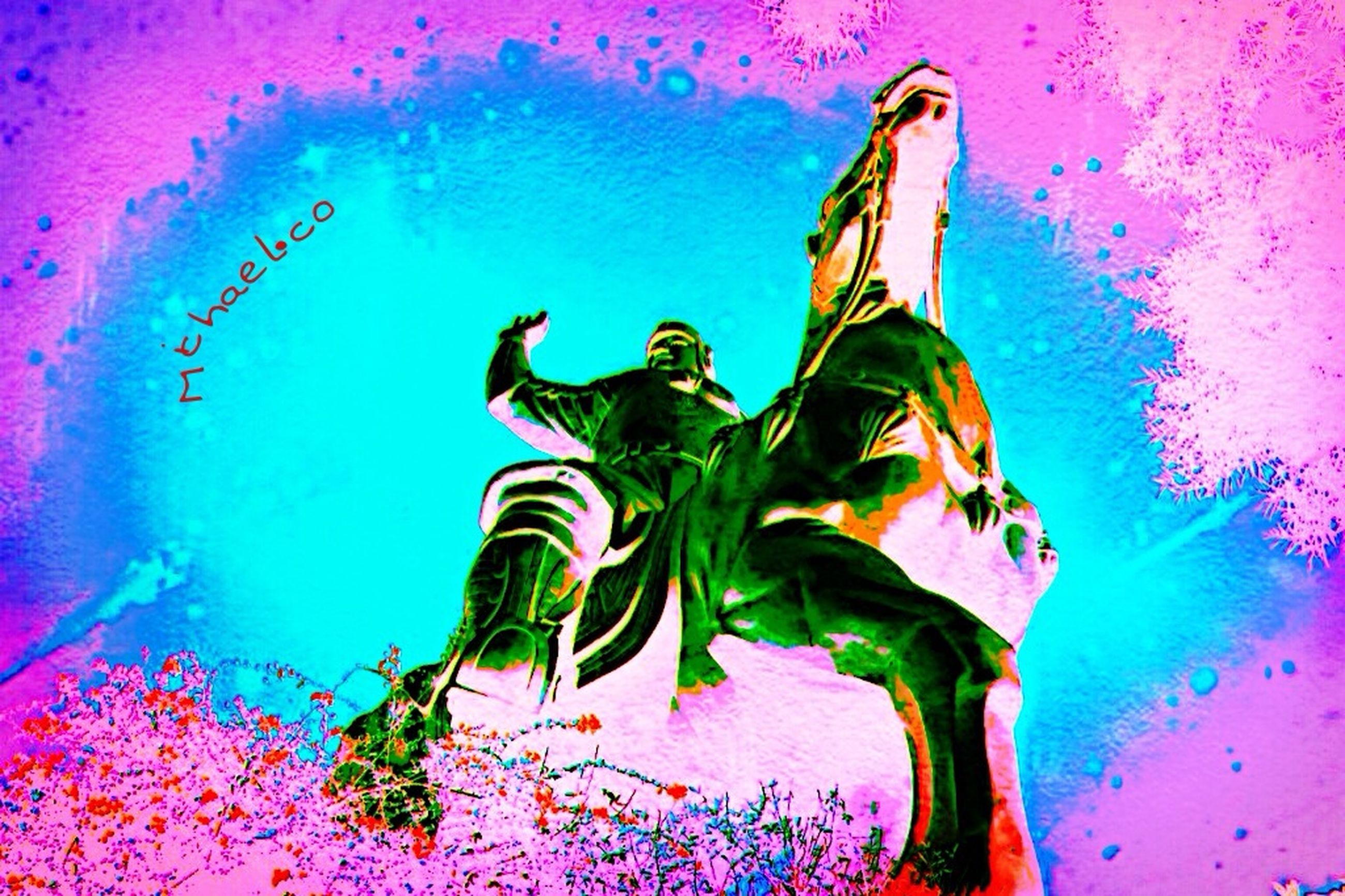art, art and craft, creativity, human representation, wall - building feature, animal representation, multi colored, pink color, indoors, sculpture, auto post production filter, water, wall, communication, holding