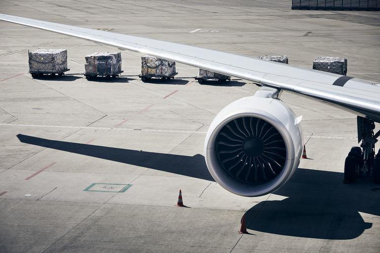 High angle view of airplane on runway