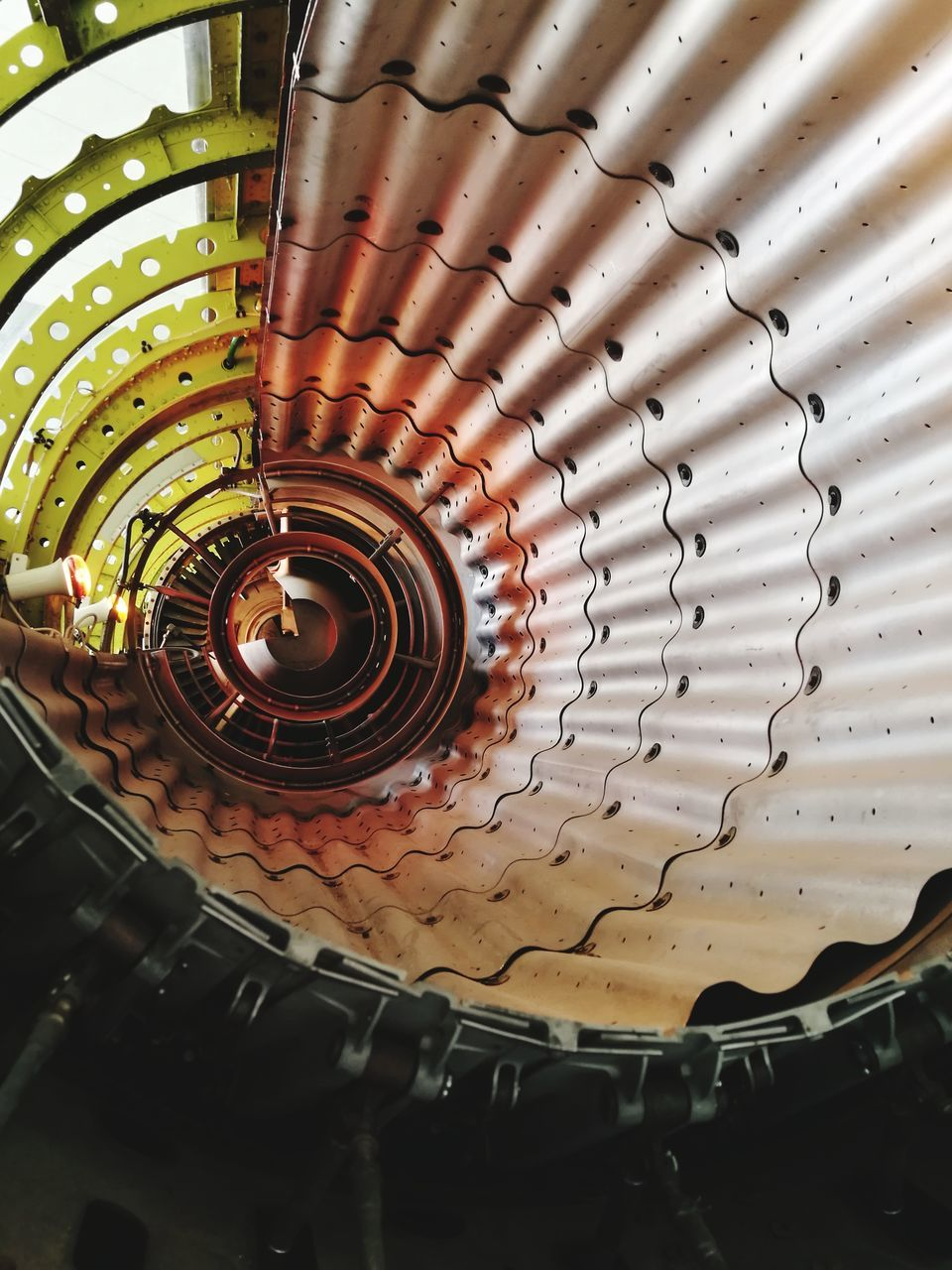 spiral, indoors, pattern, no people, architecture, built structure, low angle view, close-up, day