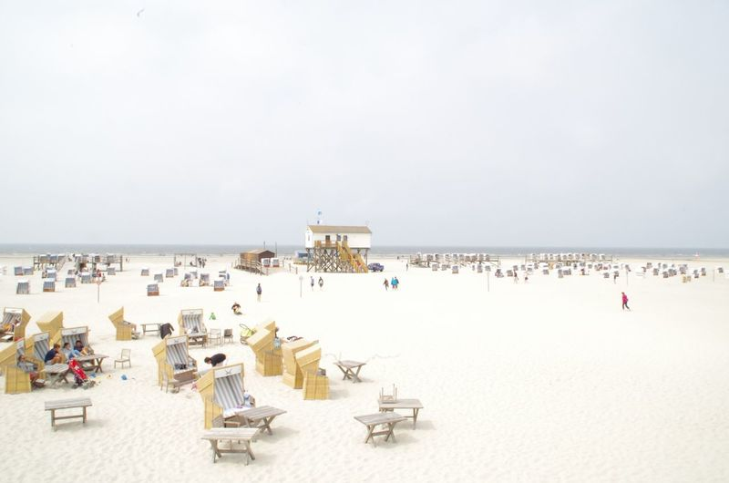Crowded German Beach in St. peter ording St. Peter Ording Strandkorb Strandkörbe Beach Chair Day Holiday Horizon Horizon Over Water Incidental People Land Nature Outdoors Sand Scenics - Nature Sea Sky Summer Travel Travel Destinations Trip Vacations Water