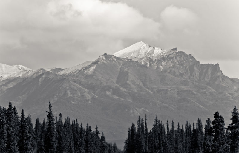 Scenic view of denali against cloudy sky at national park