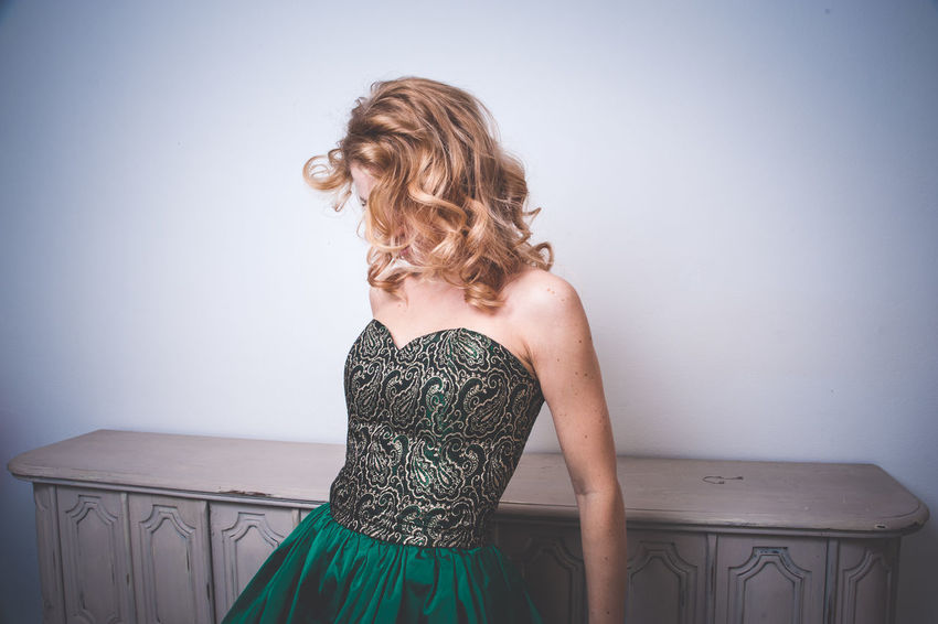 Dress Fashion Green Green Color Beautiful Woman Beauty Blond Hair Curly Curly Hair Girl Indoors  Model One Person One Woman Only One Young Woman Only Only Women Standing Young Adult EyeEm Selects