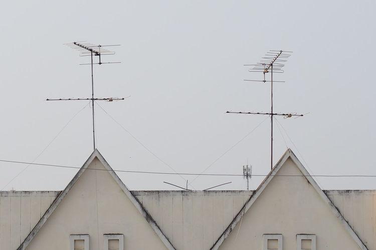 Antennas On Building Against Clear Sky