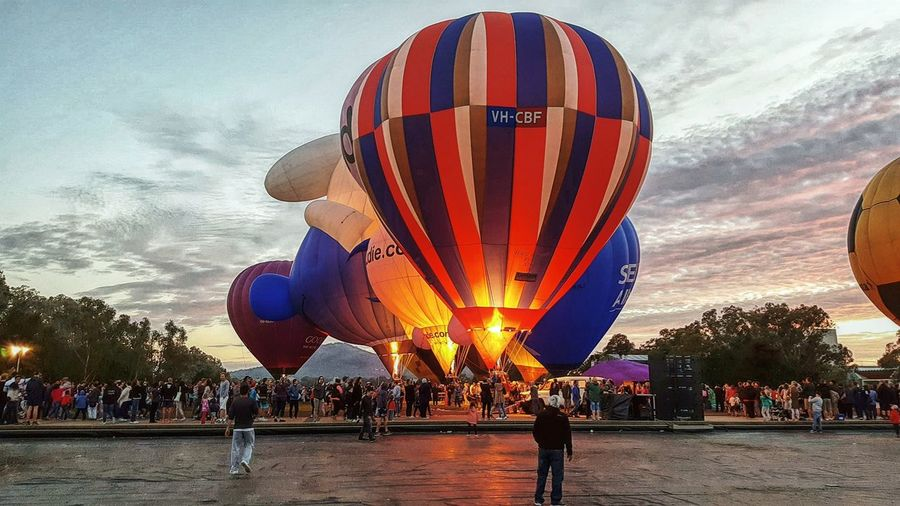 View of hot air balloon in city