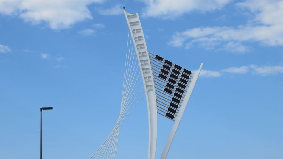 Architecture Bridge Building Cloud - Sky Curves Day Flaiano Futuristic Low Angle View Modern New No People Outdoors Sky Solar Panel