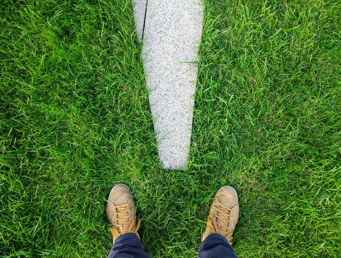Low Section Standing Grass Human Leg One Person Green Color High Angle View Shoe Day Human Body Part Men Outdoors One Man Only Directly Above Real People Only Men People Adult Adults Only