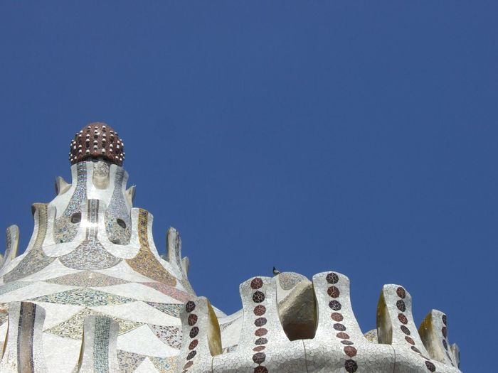 Blue Building Top Clear Sky Gaudi Roof Tile Rooftop Rooftop View  White Glazed Ceramic Tile Ceramics Barcelona, Spain The Architect - 2016 EyeEm Awards