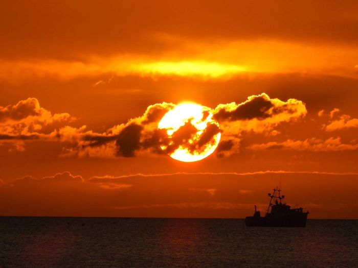 Sunset Sky Sunset Sea Nautical Vessel Water Cloud - Sky Transportation Orange Color Scenics - Nature Beauty In Nature No People Silhouette Horizon Over Water Waterfront Outdoors Ship Nature