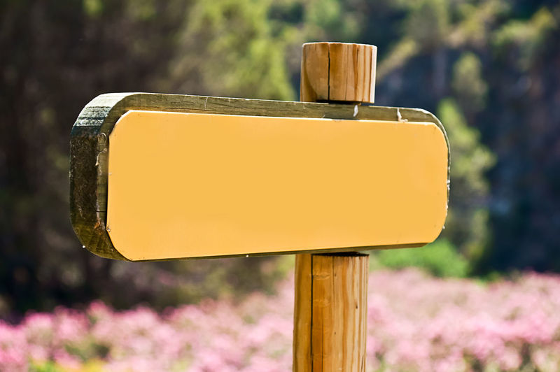 Billboard Arrow Symbol Blank Close-up Communication Day Direction Directional Sign Focus On Foreground Guidance Nature No People Outdoors Plant Rectangle Road Road Sign Sign Traffic Arrow Sign Tree Wood - Material Wooden Post Yellow