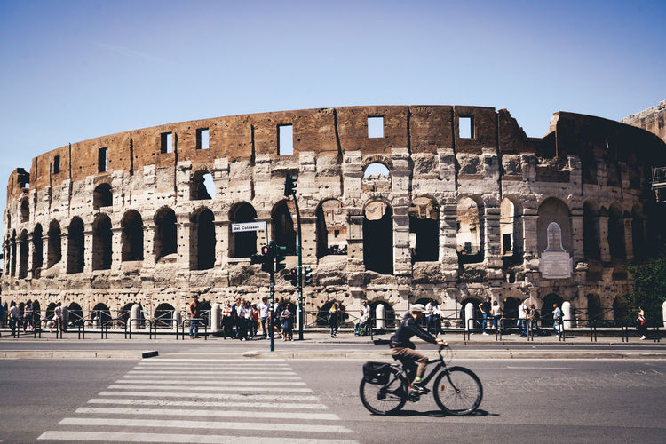 People visiting coliseum