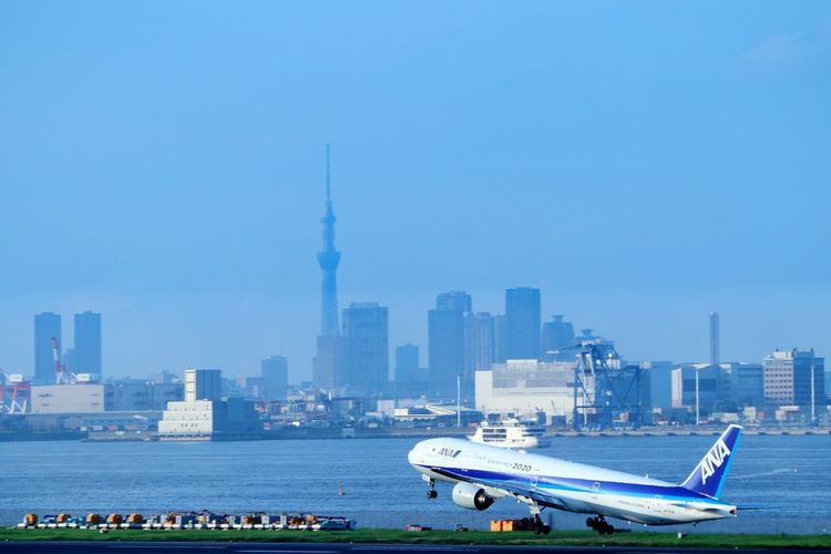 Airplane Haneda Airport Tokyo Japan Landscape Skytree Tokyoskytree