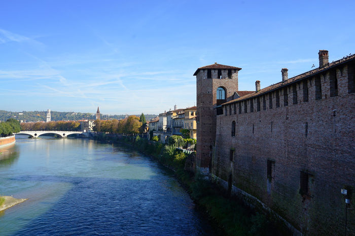 Castelvecchio Verona Travel Photography Verona Arch Bridge Architecture Building Exterior Built Structure City Connection Day Italy❤️ Outdoors River Sky Water With Wife