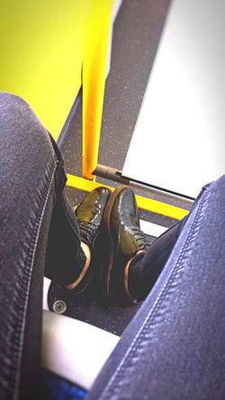 Transportation Human Body Part Shoe Close-up One Person Colors Yellow Transportation Bus Colored