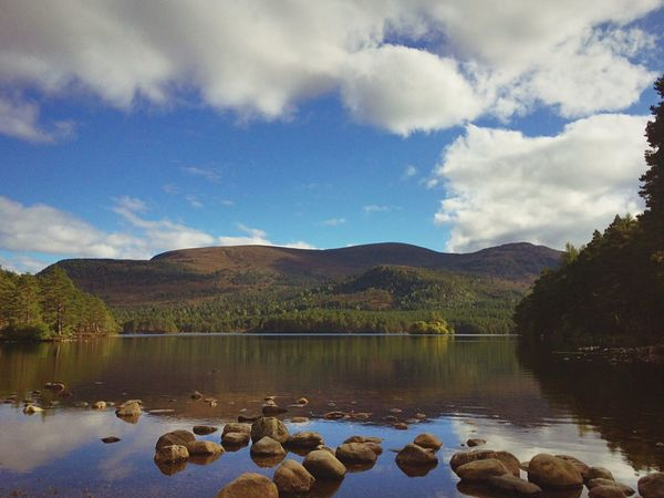 Tranquil Scene Water Scenics Mountain Reflection Beauty In Nature Stone - Object Cloud - Sky Non-urban Scene Calm No People Dramatic Landscape Solitude Loch An Eilein Aviemore Scotland IPhoneography