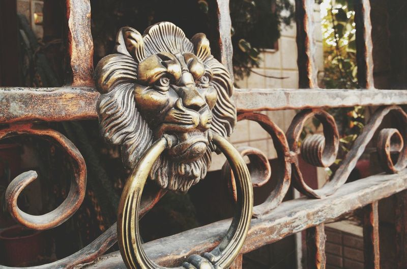 Close-up of old-fashioned door knocker on gate