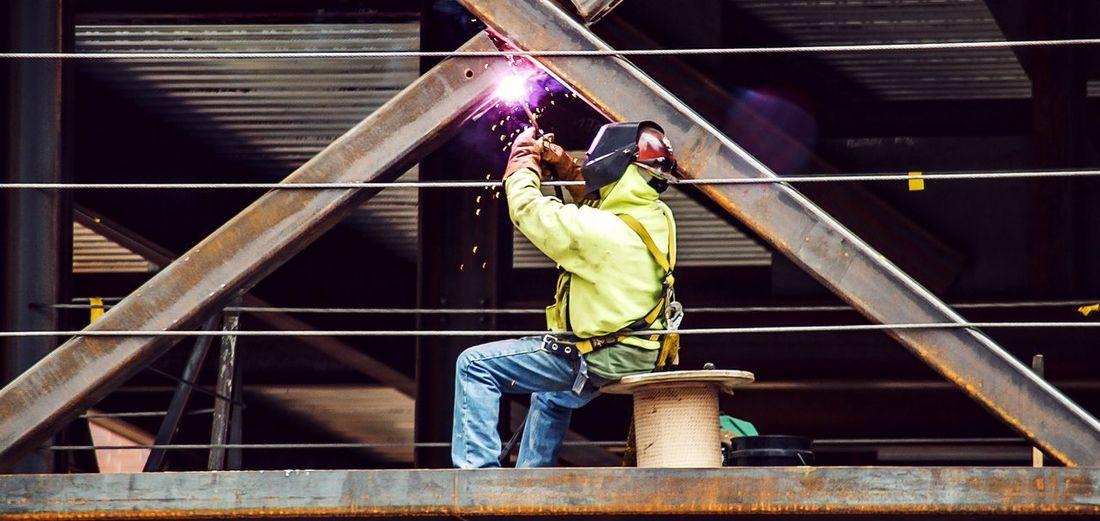 Manual worker welding