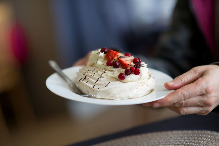 Cropped image of person holding dessert in plate