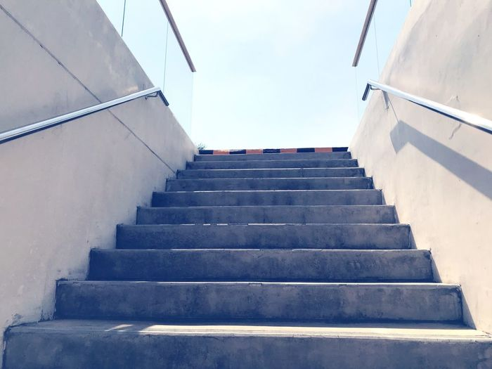 Ladder Steps And Staircases Steps Staircase Railing Stairs Low Angle View Built Structure Hand Rail Architecture Stairway Outdoors Sky Day The Way Forward No People