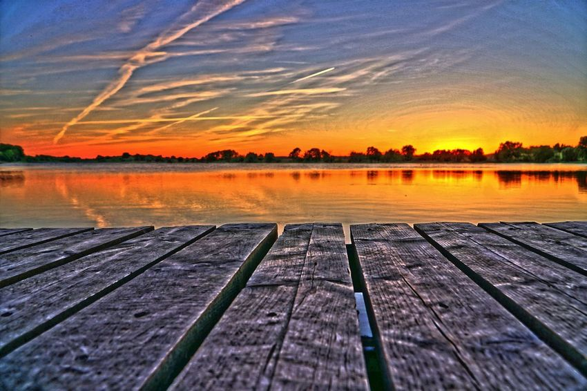 Sunset with clouds HDR Also In 16 Bit Beauty In Nature Cloud - Sky Idyllic Lake Nature Reflection Scenics - Nature Sky Sunset Tranquil Scene Tranquility Water