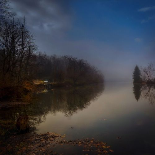 First Light Wappingers Falls Drive Car Headlights Low Light Morning Light Morning Water Tree Reflection Sky Scenics - Nature Beauty In Nature Plant Tranquility Tranquil Scene Lake Nature Outdoors