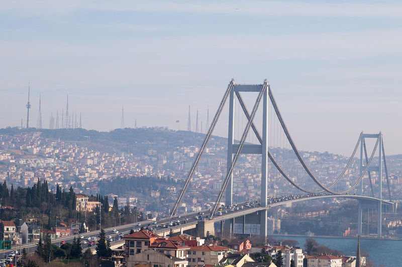 Bosphorus bridge in city against sky