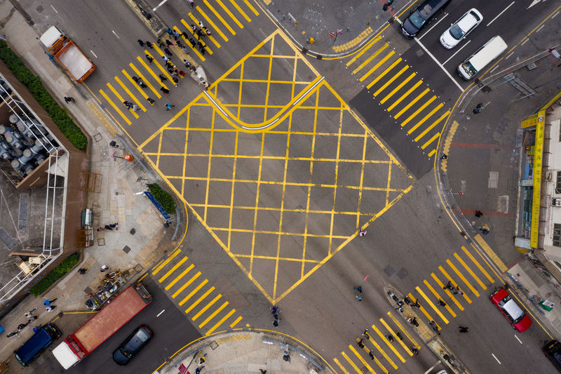 High angle view of traffic crossing road