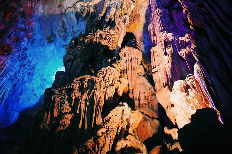 Abstract Backgrounds Beauty In Nature Blue Close-up Day Detail Eroded Full Frame Geology Guilin Multi Colored Natural Pattern Nature No People Reed Flute Cave Rock - Object Rock Formation Tranquility