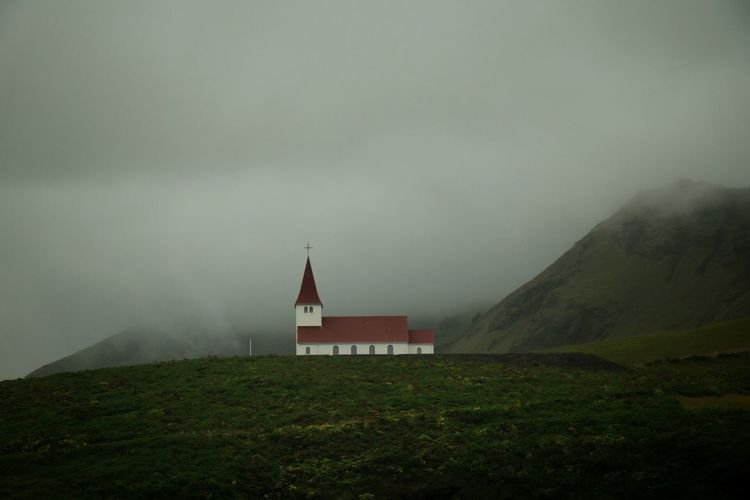 Church Vik I Myrdal Church Foggy Evening Foggy Landscape Beauty In Ordinary Things Iceland_collection Beautiful Nature