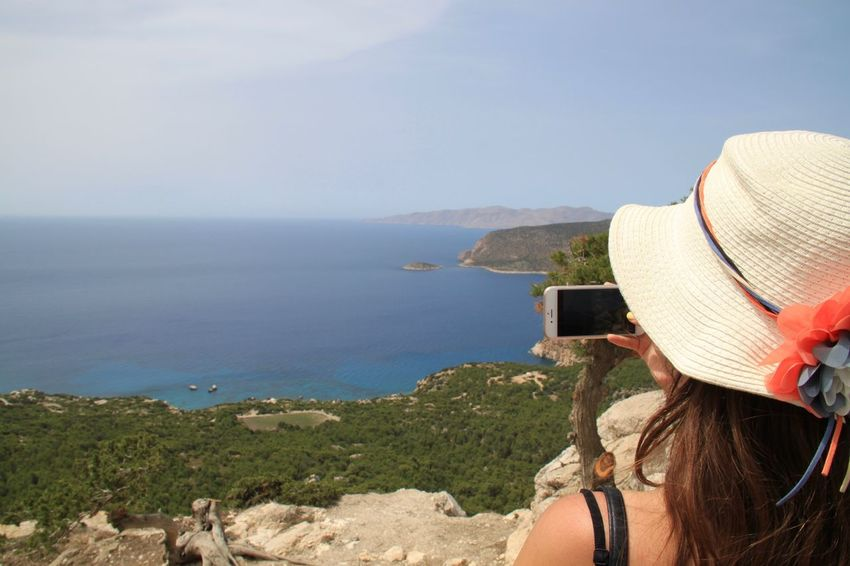 Enjoying The View Monolithos Rhodes Ródos Taking Photos Taking Pictures View Beauty In Nature Hat Headshot Lifestyles Mobilephotography Mountain Nature One Person PhonePhotography Rear View Scenics Sea Smartphonephotography Sun Hat Technology Travel Destinations Vacations Women Done That.