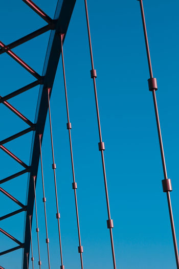 Blue Cable Clear Sky Connection Copy Space Day Electricity  Engineering Here Belongs To Me Lighting Equipment Low Angle View Metal Metallic No People Outdoors Part Of Power Line  Sky Street Light Tall - High Technology Things I Like Urban Spring Fever Your Design Story The Architect - 2016 EyeEm Awards