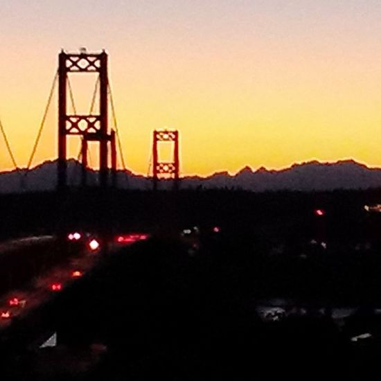 Ttown TTownstyle Tacompton Tacomawa 253 UpperLeftUSA PNW the TacomaNarrowsBridges and the OlympicMountains at sunset.... This is what makes this the best place to live in the country......