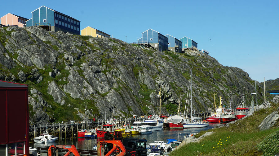 Panoramic view of harbor by buildings against clear sky