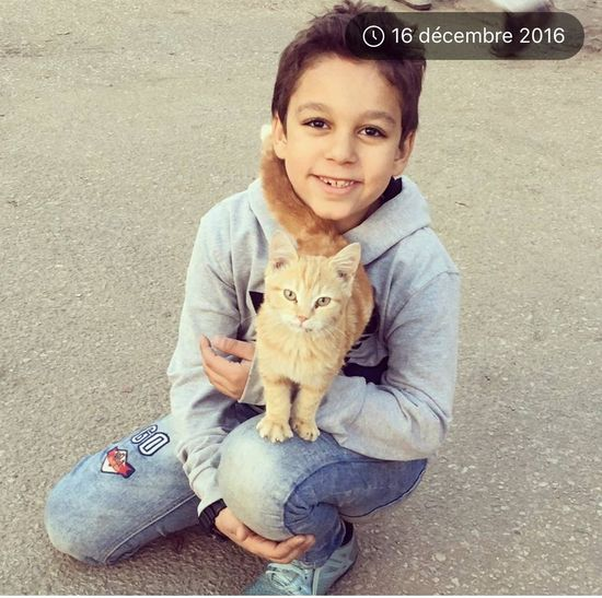 Looking At Camera Pets Portrait One Animal One Person Child Domestic Animals Animal People Cute Children Only Domestic Cat Day