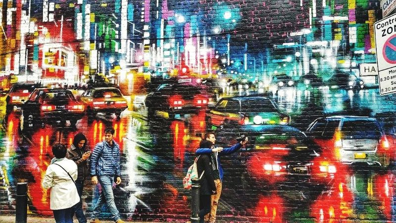 City Illuminated Multi Colored Full Frame Backgrounds Land Vehicle Car City Life Built Structure