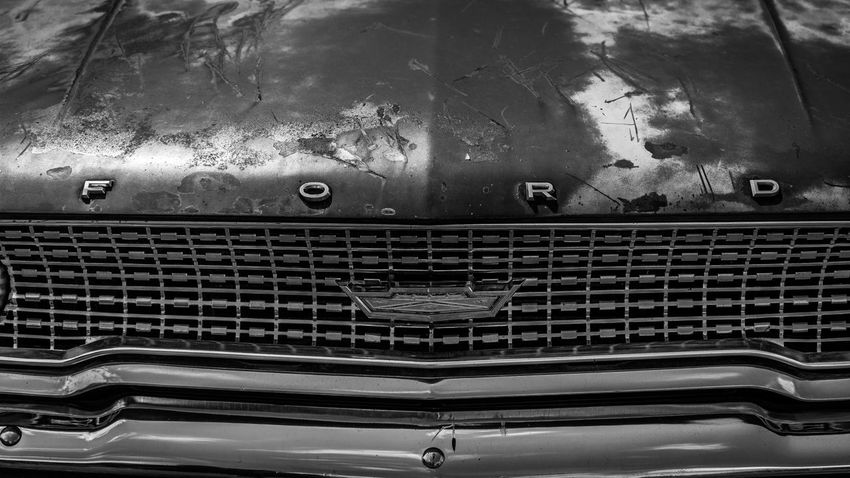 1963 Automobile Beautiful Black & White CarShow Cars Ford Ford Galaxie Lines Logo Rugged Rust Black And White Black And White Photography Blackandwhite Blackandwhite Photography Car Car Show Close-up Contrast Emblem  Grill Rusty Rusty Metal Symmetry