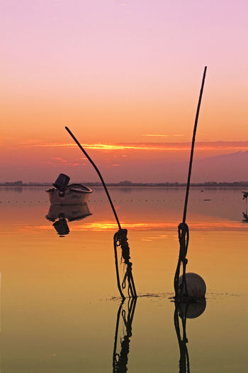 France Beauty In Nature Full Length Horizon Over Water Idyllic Nature One Person Orange Color Reflection Scenics - Nature Sea Silhouette Sky Sport Sports Equipment Sunset Tranquility Water