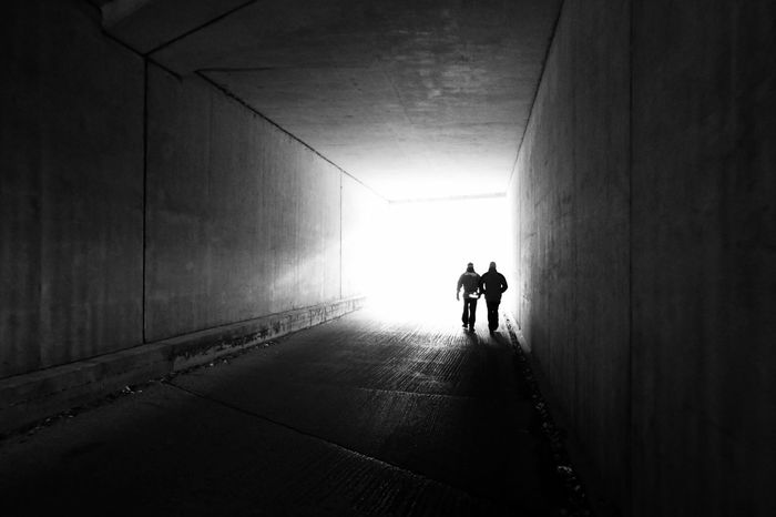 Into The Light Tunnelvision Two People Real People Rear View Full Length Walking Silhouette Built Structure Tunnel Men Architecture Day Friendship Adult People EyeEm Ready