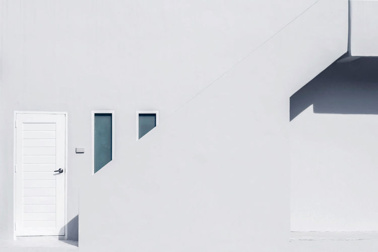 White wall of building