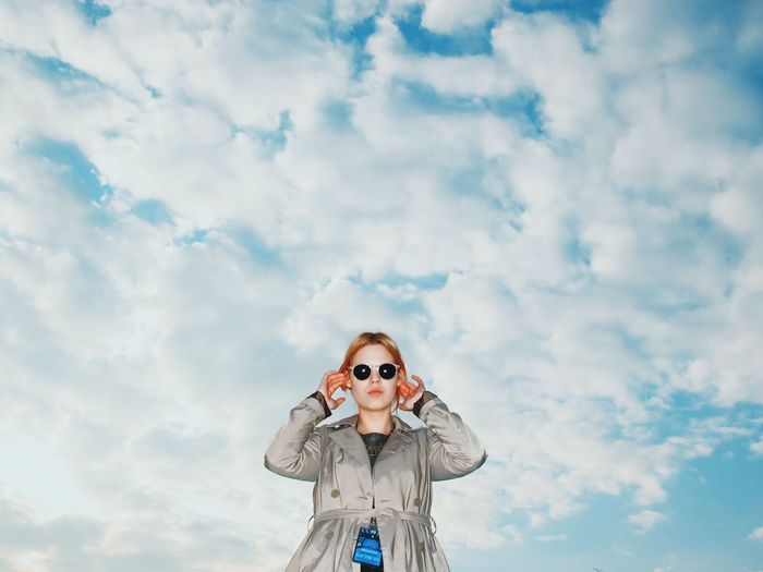 Whaaat? Cloud - Sky Sky Casual Clothing Day Person Looking Cloudy Creativity Mask - Disguise One Woman Young Adult