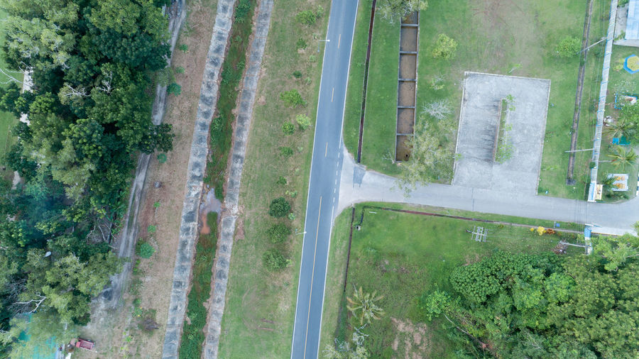 Aerial View Architecture Built Structure Day Glass - Material Green Color High Angle View Land Landscape Nature No People Outdoors Plant Road Transparent Transportation Tree Water Window